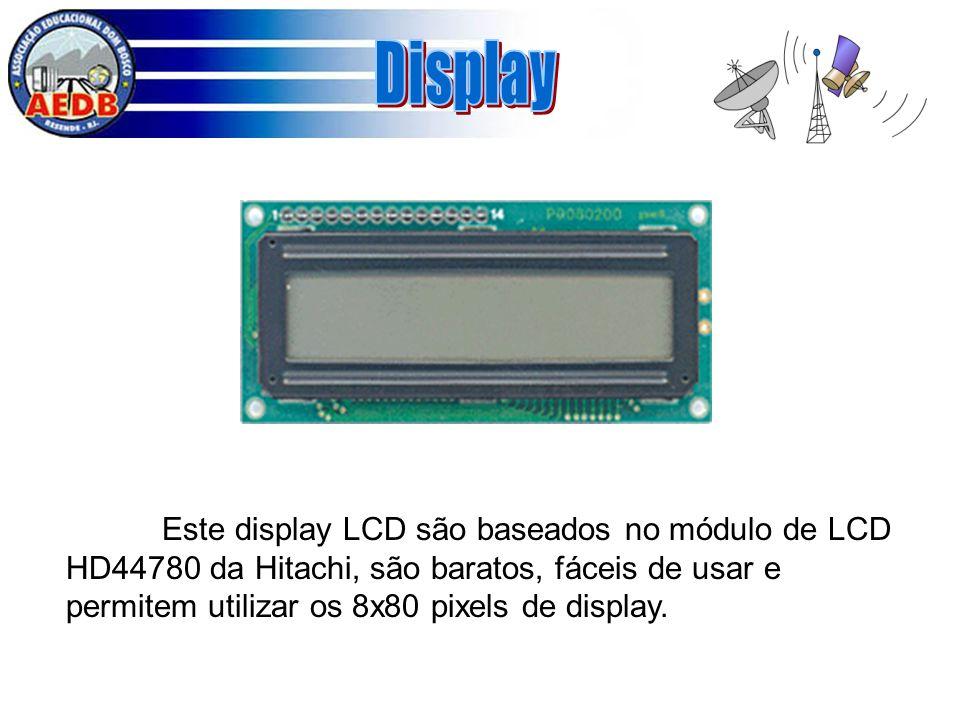 Este display LCD são baseados no módulo de LCD HD44780 da Hitachi, são baratos, fáceis de usar e permitem utilizar os 8x80 pixels de display.