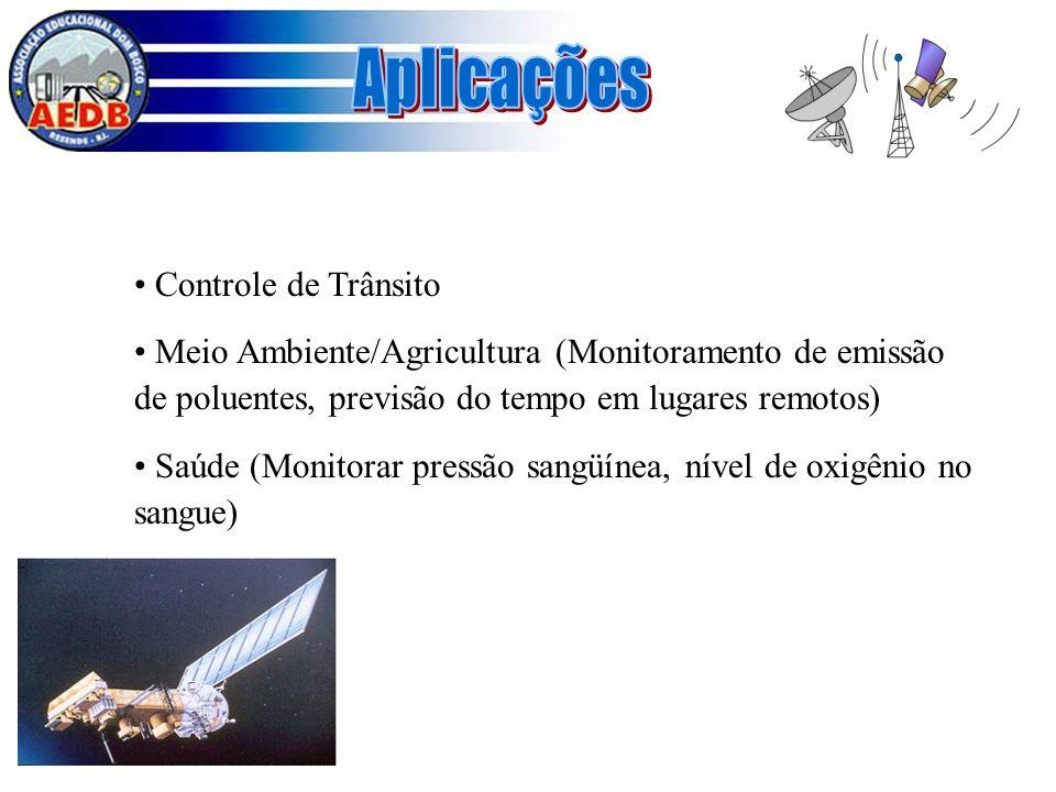 Controle de Trânsito Meio Ambiente/Agricultura (Monitoramento de emissão de poluentes, previsão do tempo em lugares remotos) Saúde (Monitorar pressão
