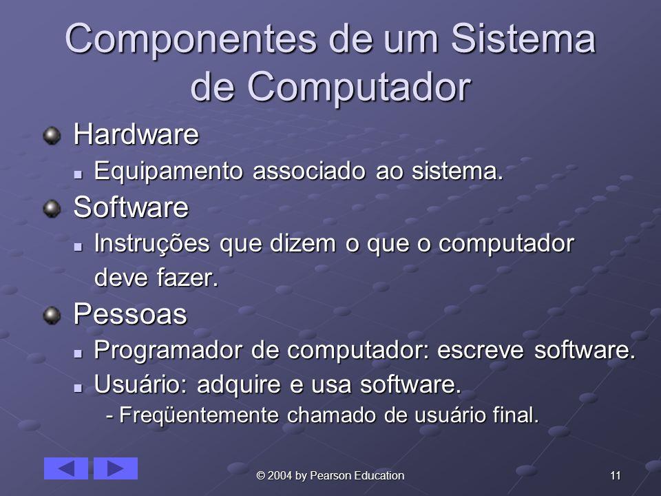 11© 2004 by Pearson Education Componentes de um Sistema de Computador Hardware Hardware Equipamento associado ao sistema. Equipamento associado ao sis