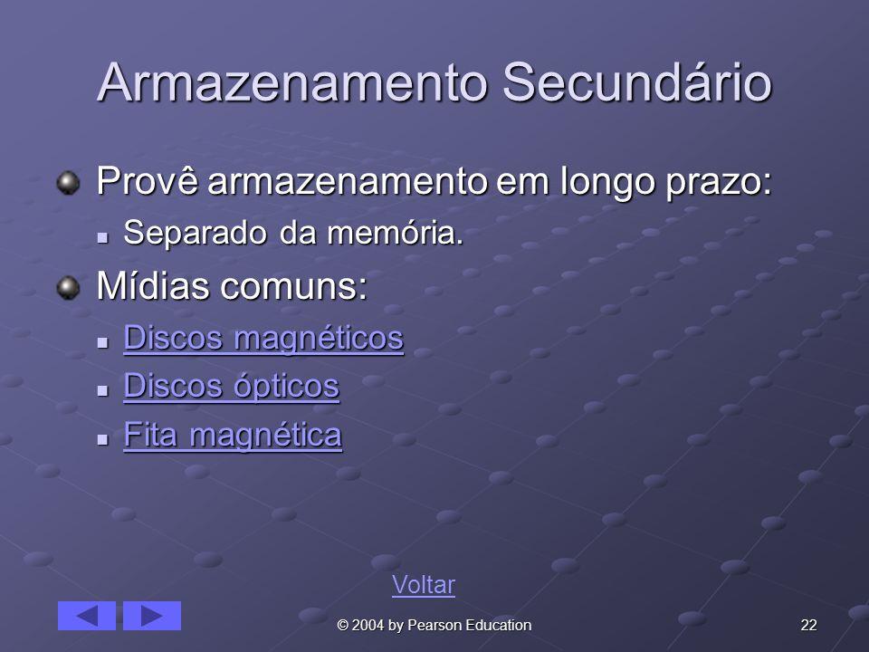 22© 2004 by Pearson Education Armazenamento Secundário Provê armazenamento em longo prazo: Provê armazenamento em longo prazo: Separado da memória. Se