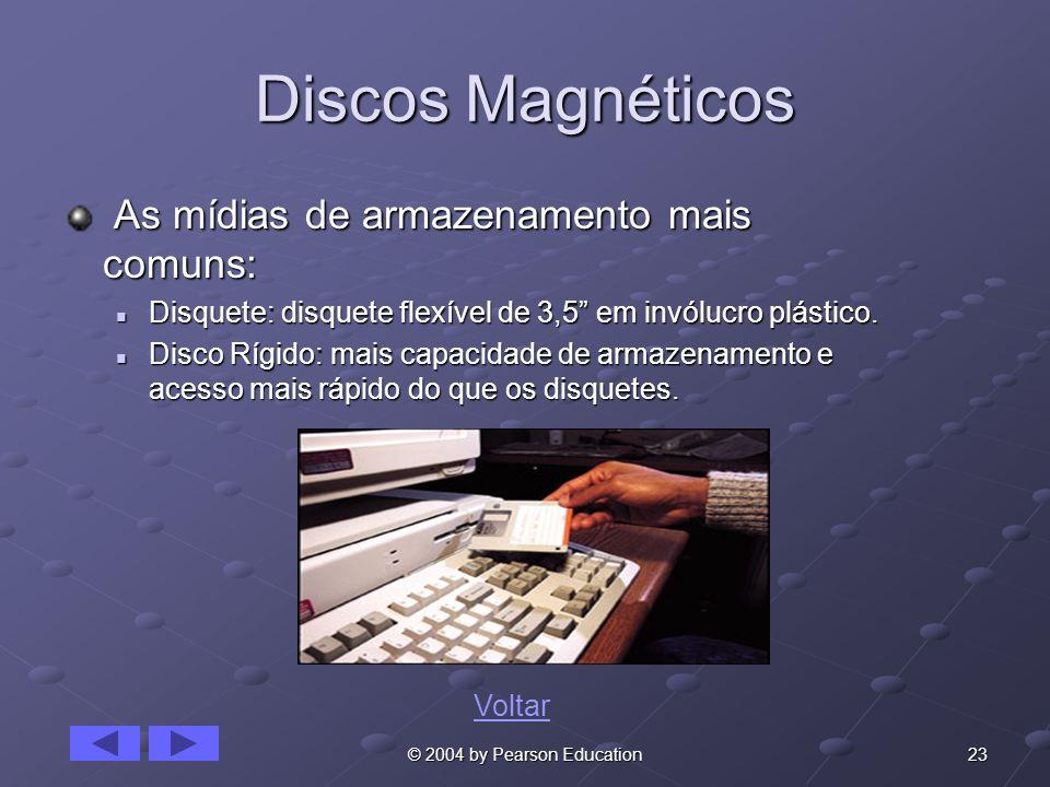 23© 2004 by Pearson Education Discos Magnéticos As mídias de armazenamento mais comuns: As mídias de armazenamento mais comuns: Disquete: disquete flexível de 3,5 em invólucro plástico.