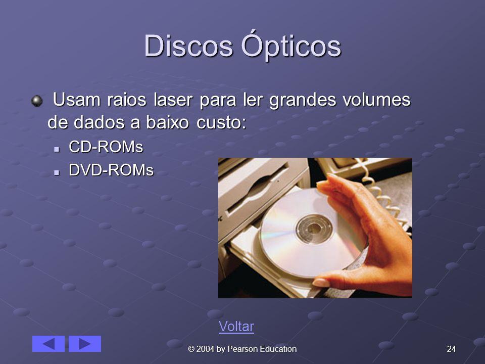 24© 2004 by Pearson Education Discos Ópticos Usam raios laser para ler grandes volumes de dados a baixo custo: Usam raios laser para ler grandes volumes de dados a baixo custo: CD-ROMs CD-ROMs DVD-ROMs DVD-ROMs Voltar