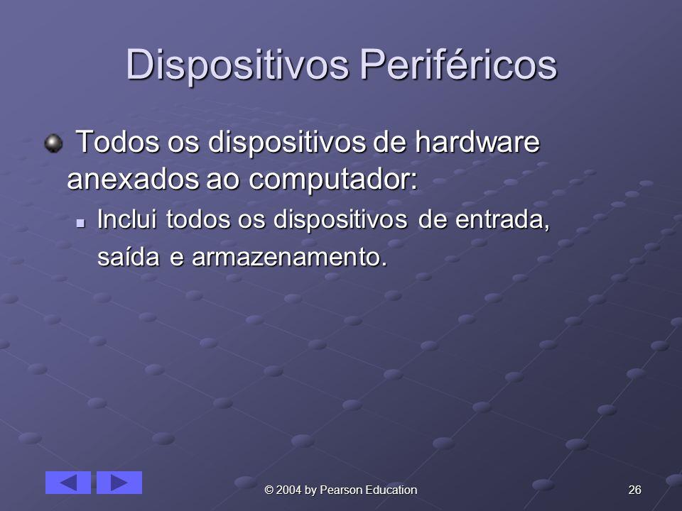 26© 2004 by Pearson Education Dispositivos Periféricos Todos os dispositivos de hardware anexados ao computador: Todos os dispositivos de hardware ane