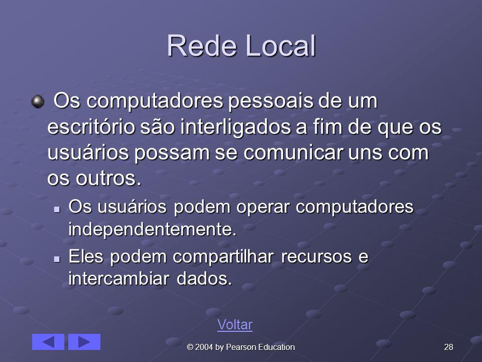 28© 2004 by Pearson Education Rede Local Os computadores pessoais de um escritório são interligados a fim de que os usuários possam se comunicar uns c