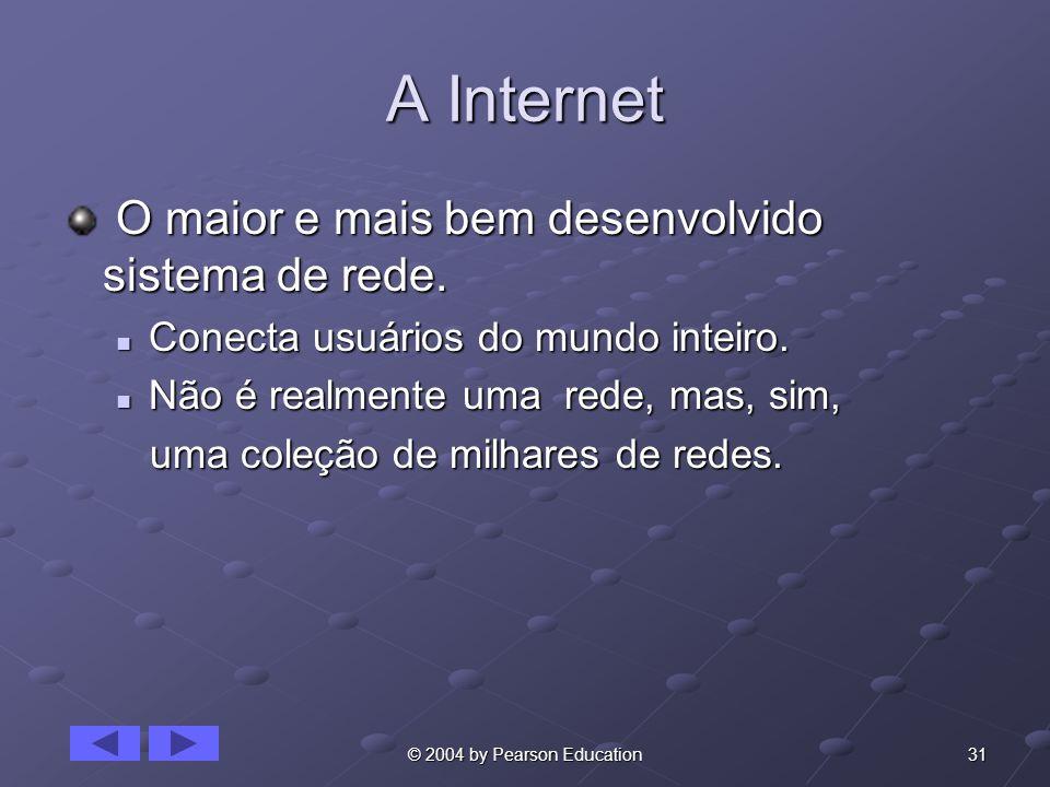 31© 2004 by Pearson Education A Internet O maior e mais bem desenvolvido sistema de rede. O maior e mais bem desenvolvido sistema de rede. Conecta usu