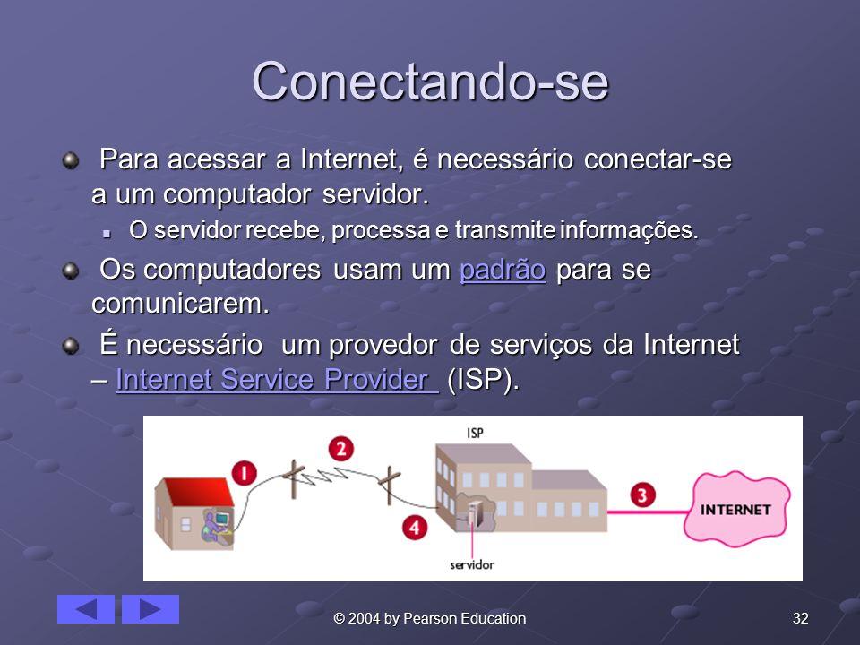32© 2004 by Pearson Education Conectando-se Para acessar a Internet, é necessário conectar-se a um computador servidor. Para acessar a Internet, é nec