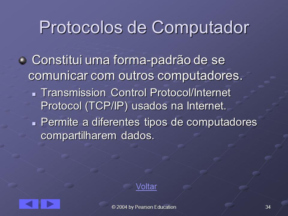 34© 2004 by Pearson Education Protocolos de Computador Constitui uma forma-padrão de se comunicar com outros computadores. Constitui uma forma-padrão
