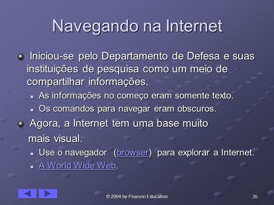 35© 2004 by Pearson Education Navegando na Internet Iniciou-se pelo Departamento de Defesa e suas instituições de pesquisa como um meio de compartilhar informações.