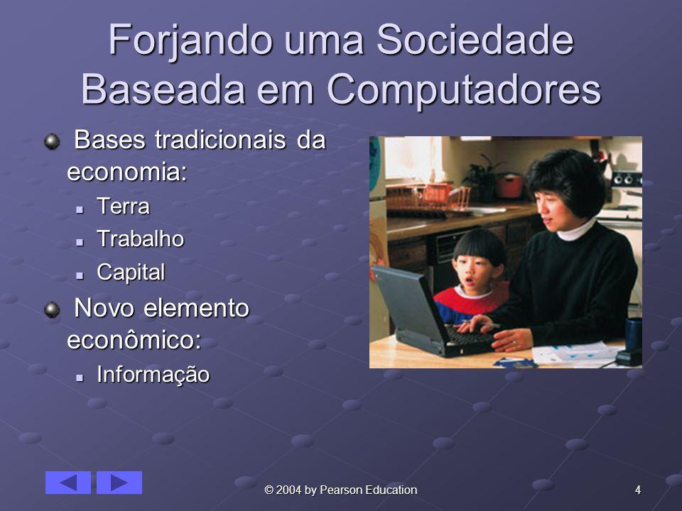 4© 2004 by Pearson Education Forjando uma Sociedade Baseada em Computadores Bases tradicionais da economia: Bases tradicionais da economia: Terra Terr