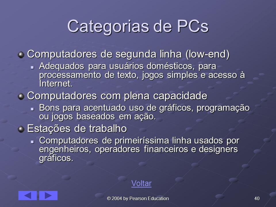 40© 2004 by Pearson Education Categorias de PCs Computadores de segunda linha (low-end) Adequados para usuários domésticos, para processamento de texto, jogos simples e acesso à Internet.