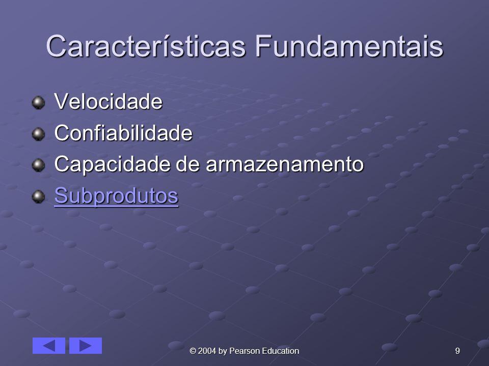 9© 2004 by Pearson Education Características Fundamentais Velocidade Velocidade Confiabilidade Confiabilidade Capacidade de armazenamento Capacidade de armazenamento Subprodutos SubprodutosSubprodutos