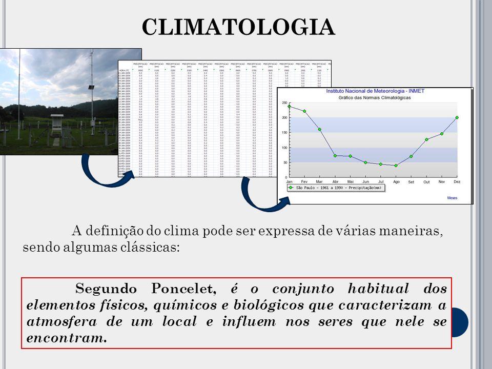 CLIMATOLOGIA A definição do clima pode ser expressa de várias maneiras, sendo algumas clássicas: Para Sorre, clima é a série de estados da atmosfera em um lugar, em sua sucessão habitual.