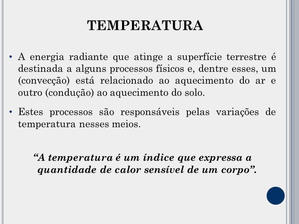 TEMPERATURA A energia radiante que atinge a superfície terrestre é destinada a alguns processos físicos e, dentre esses, um (convecção) está relacionado ao aquecimento do ar e outro (condução) ao aquecimento do solo.