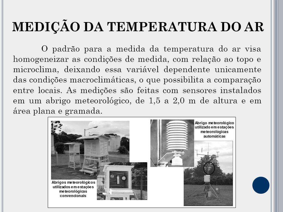 O padrão para a medida da temperatura do ar visa homogeneizar as condições de medida, com relação ao topo e microclima, deixando essa variável dependente unicamente das condições macroclimáticas, o que possibilita a comparação entre locais.