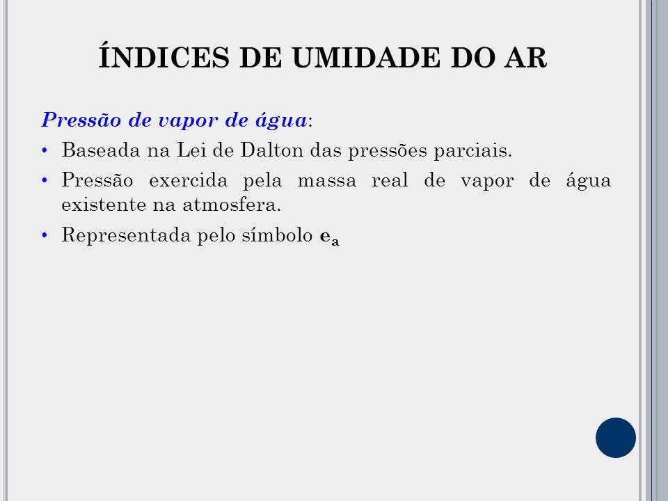 ÍNDICES DE UMIDADE DO AR Pressão de vapor de água : Baseada na Lei de Dalton das pressões parciais.