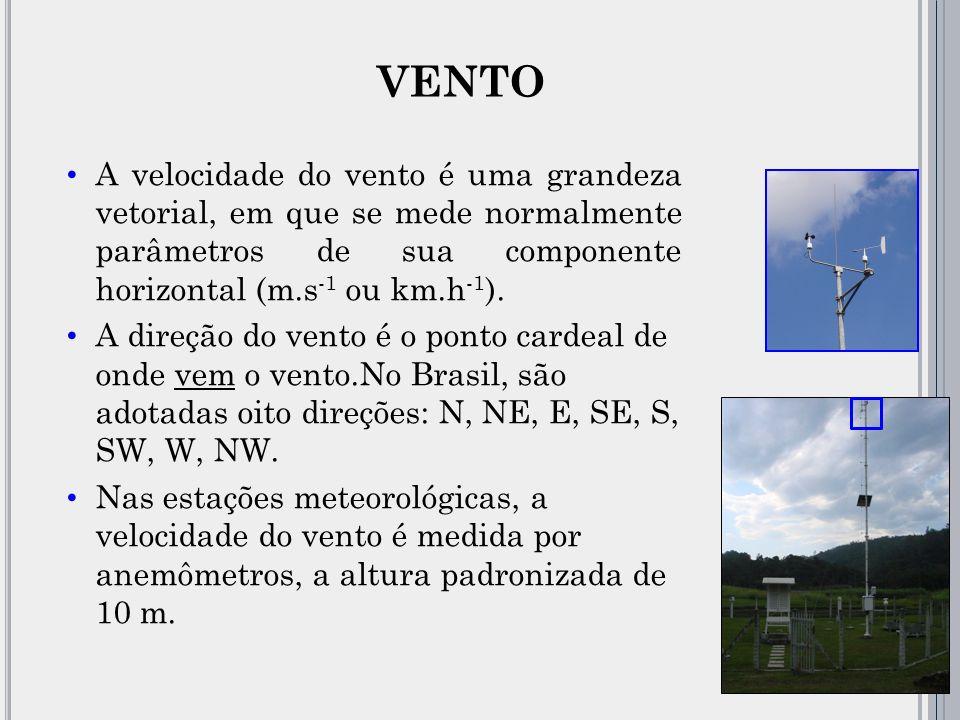 A velocidade do vento é uma grandeza vetorial, em que se mede normalmente parâmetros de sua componente horizontal (m.s -1 ou km.h -1 ).