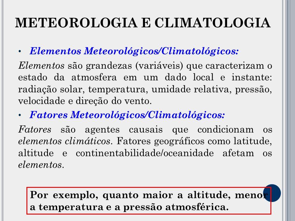 Elementos Meteorológicos/Climatológicos: Elementos são grandezas (variáveis) que caracterizam o estado da atmosfera em um dado local e instante: radiação solar, temperatura, umidade relativa, pressão, velocidade e direção do vento.
