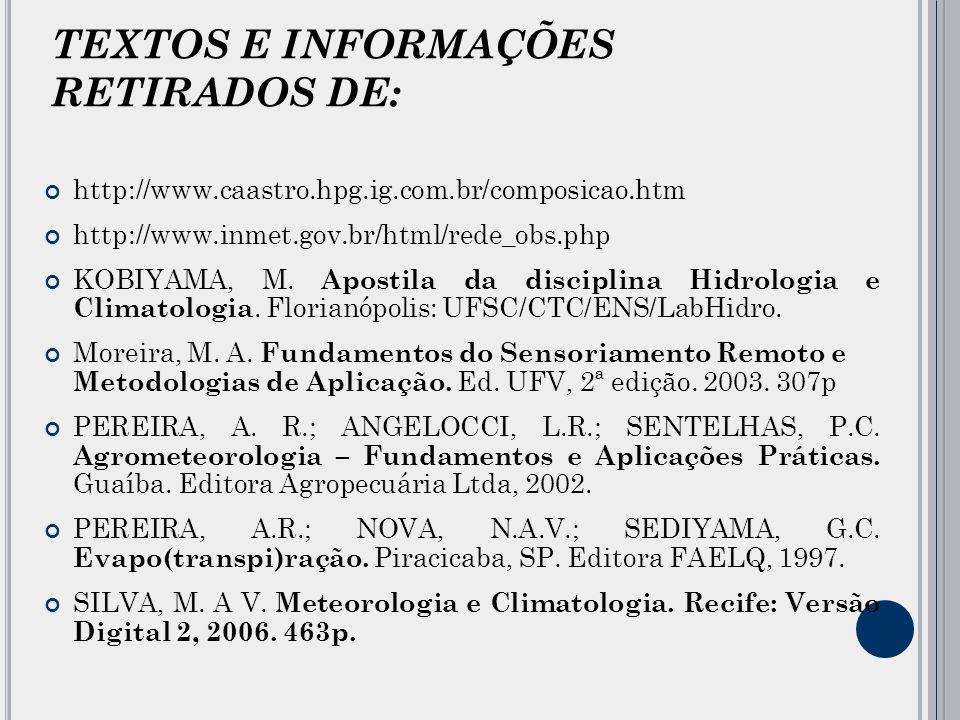 TEXTOS E INFORMAÇÕES RETIRADOS DE: http://www.caastro.hpg.ig.com.br/composicao.htm http://www.inmet.gov.br/html/rede_obs.php KOBIYAMA, M.