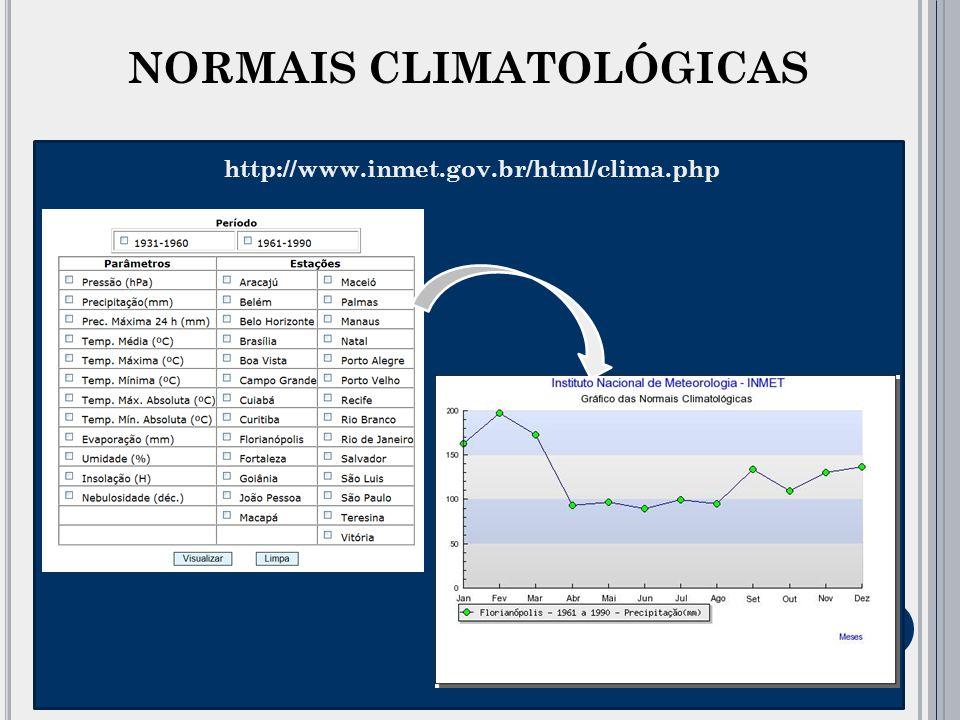 As Normais Climatológicas são obtidas através do cálculo das médias de parâmetros meteorológicos, obedecendo a critérios recomendados pela Organização Meteorológica Mundial (OMM).