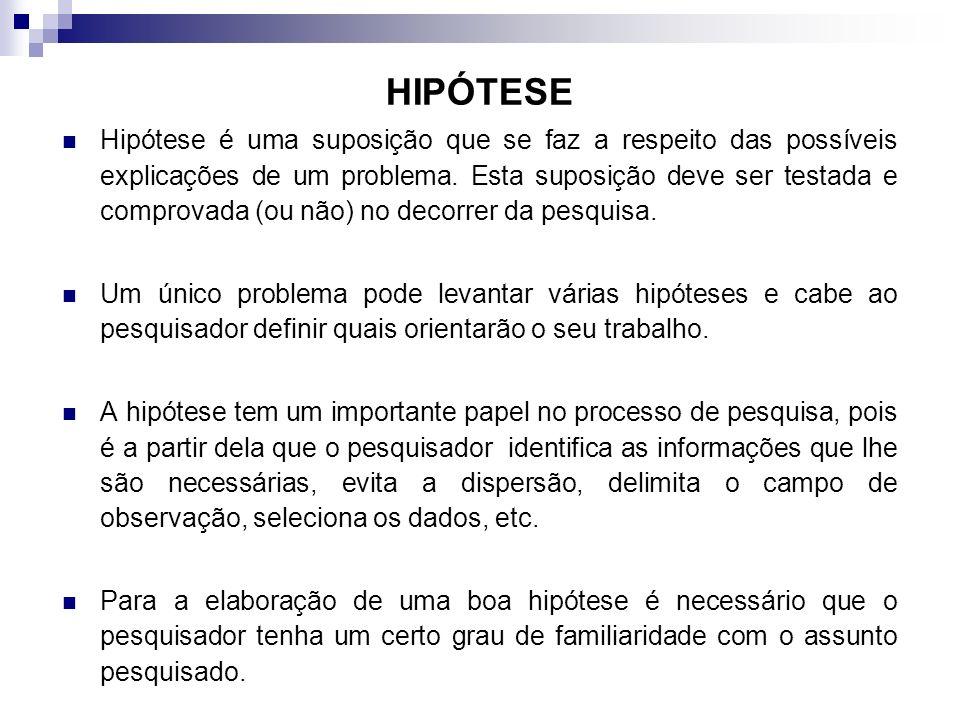 HIPÓTESE Hipótese é uma suposição que se faz a respeito das possíveis explicações de um problema. Esta suposição deve ser testada e comprovada (ou não