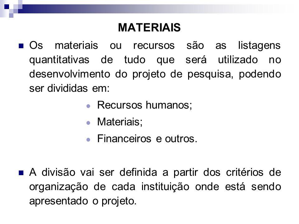 MATERIAIS Os materiais ou recursos são as listagens quantitativas de tudo que será utilizado no desenvolvimento do projeto de pesquisa, podendo ser di