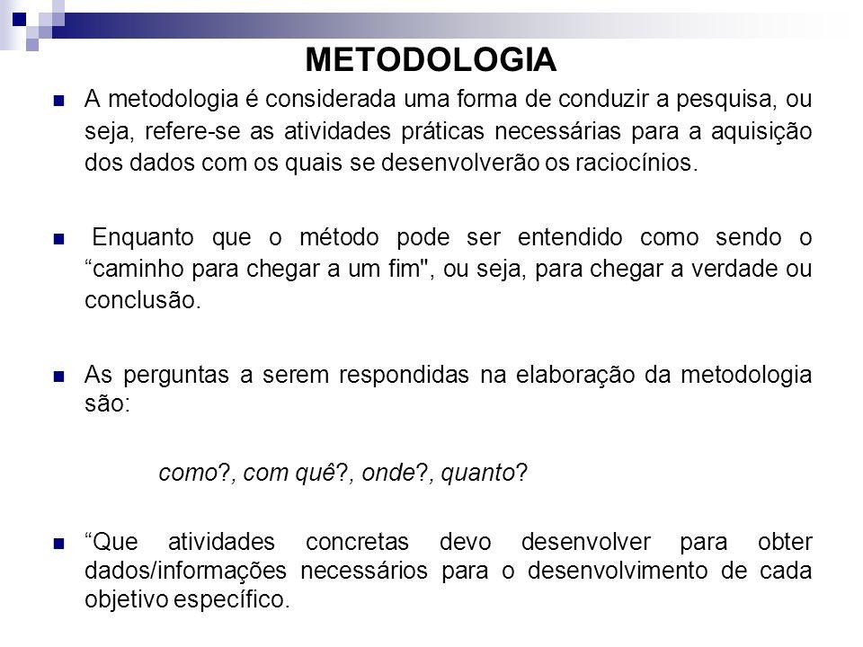 METODOLOGIA A metodologia é considerada uma forma de conduzir a pesquisa, ou seja, refere-se as atividades práticas necessárias para a aquisição dos d