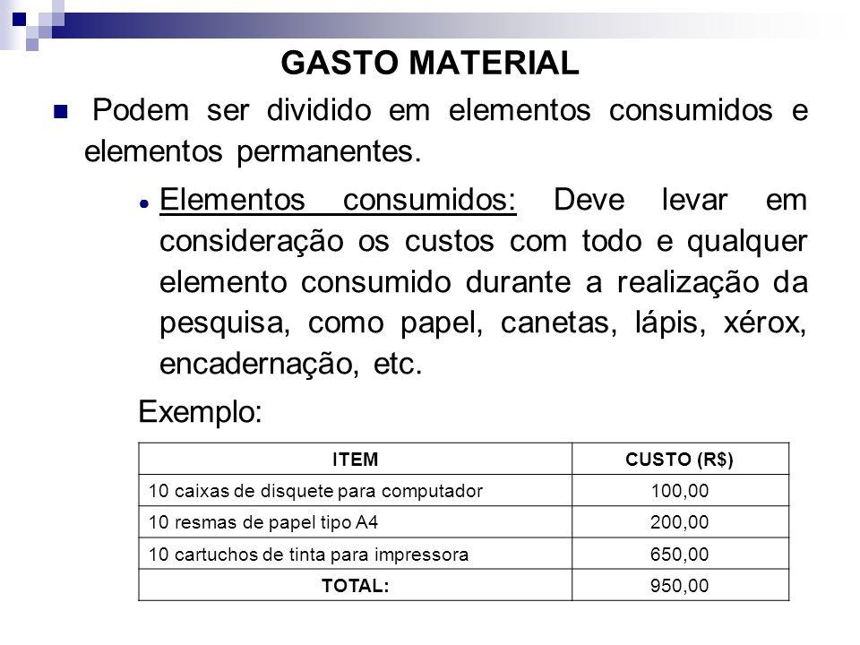 GASTO MATERIAL Podem ser dividido em elementos consumidos e elementos permanentes. Elementos consumidos: Deve levar em consideração os custos com todo