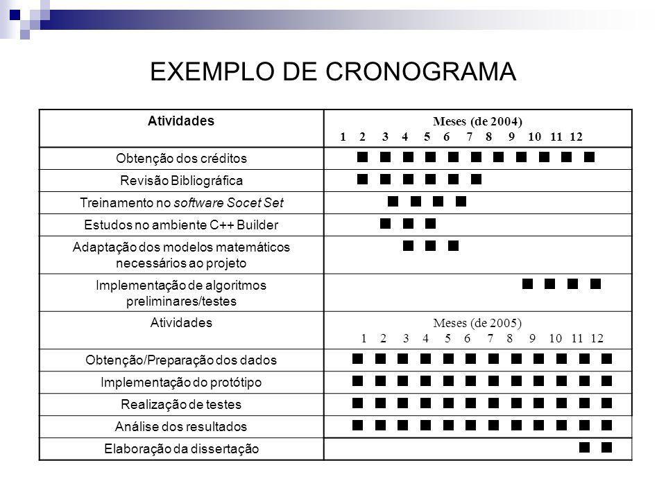 EXEMPLO DE CRONOGRAMA Atividades Meses (de 2004) 1 2 3 4 5 6 7 8 9 10 11 12 Obtenção dos créditos Revisão Bibliográfica Treinamento no software Socet