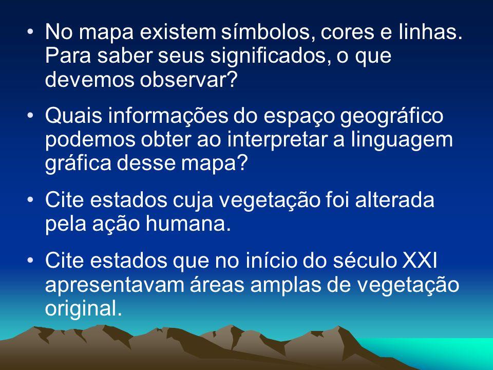No mapa existem símbolos, cores e linhas. Para saber seus significados, o que devemos observar? Quais informações do espaço geográfico podemos obter a
