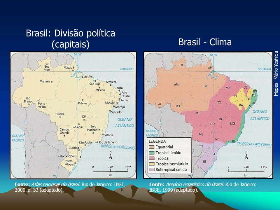 Mapas: Mário Yoshida Fonte: Atlas nacional do Brasil. Rio de Janeiro: IBGE, 2000. p. 33 (adaptado). Fonte: Anuário estatístico do Brasil. Rio de Janei