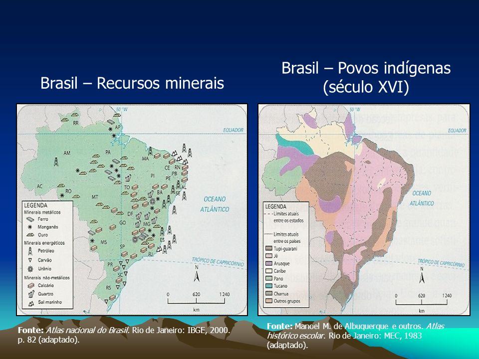 Brasil – Recursos minerais Brasil – Povos indígenas (século XVI) Fonte: Atlas nacional do Brasil. Rio de Janeiro: IBGE, 2000. p. 82 (adaptado). Fonte: