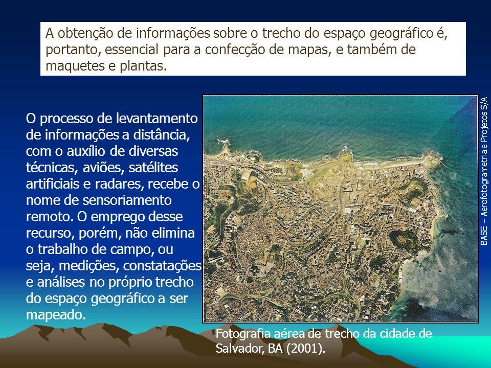 Fotografia aérea de trecho da cidade de Salvador, BA (2001). A obtenção de informações sobre o trecho do espaço geográfico é, portanto, essencial para