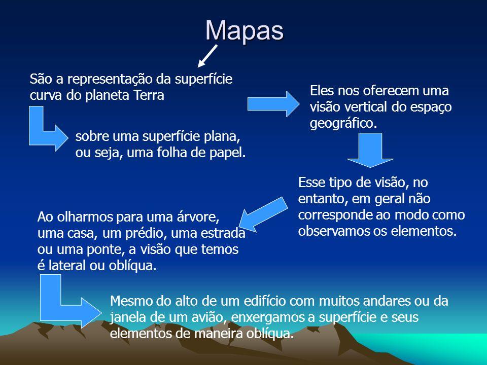 Mapas São a representação da superfície curva do planeta Terra Eles nos oferecem uma visão vertical do espaço geográfico. Ao olharmos para uma árvore,