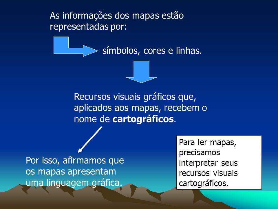 Para ler mapas, precisamos interpretar seus recursos visuais cartográficos. As informações dos mapas estão representadas por: símbolos, cores e linhas