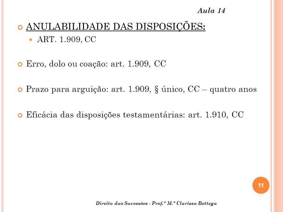 11 Direito das Sucessões - Prof.ª M.ª Clarissa Bottega Aula 14 ANULABILIDADE DAS DISPOSIÇÕES : ART. 1.909, CC Erro, dolo ou coação: art. 1.909, CC Pra