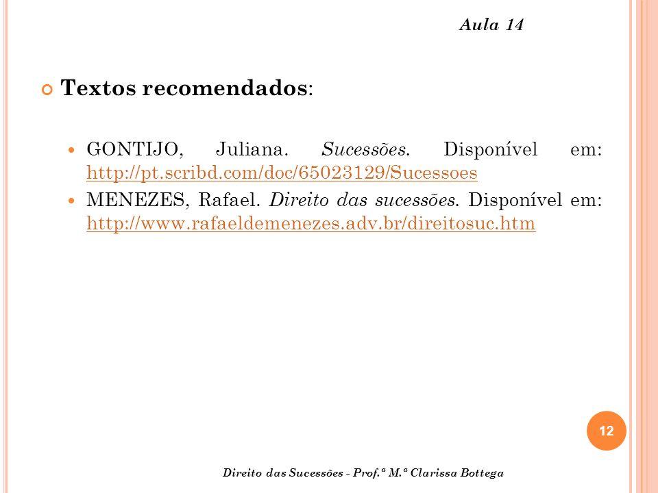 12 Direito das Sucessões - Prof.ª M.ª Clarissa Bottega Aula 14 Textos recomendados : GONTIJO, Juliana. Sucessões. Disponível em: http://pt.scribd.com/