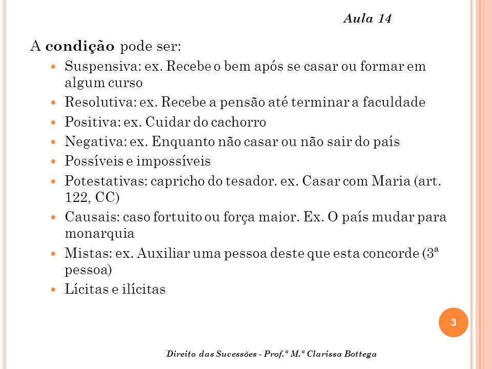 4 Direito das Sucessões - Prof.ª M.ª Clarissa Bottega Aula 14 As disposições não podem ser por tempo: art.