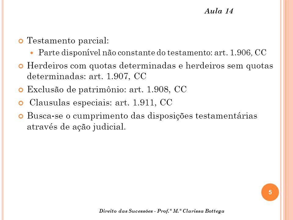 5 Direito das Sucessões - Prof.ª M.ª Clarissa Bottega Aula 14 Testamento parcial: Parte disponível não constante do testamento: art. 1.906, CC Herdeir