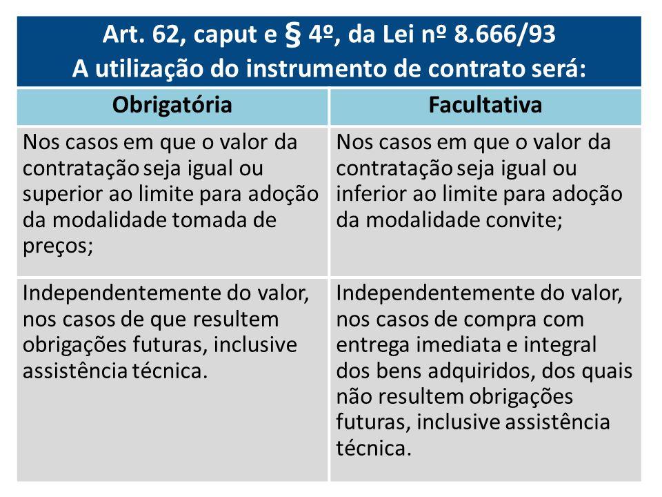 Art. 62, caput e § 4º, da Lei nº 8.666/93 A utilização do instrumento de contrato será: ObrigatóriaFacultativa Nos casos em que o valor da contratação