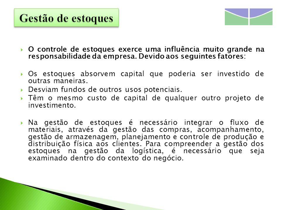 O controle de estoques exerce uma influência muito grande na responsabilidade da empresa. Devido aos seguintes fatores: Os estoques absorvem capital q