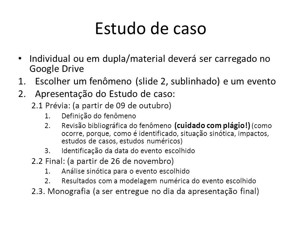 Estudo de caso Individual ou em dupla/material deverá ser carregado no Google Drive 1.Escolher um fenômeno (slide 2, sublinhado) e um evento 2.Apresen