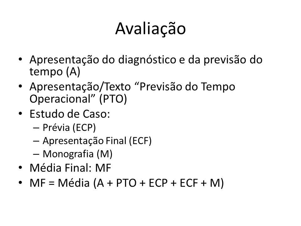 Avaliação Apresentação do diagnóstico e da previsão do tempo (A) Apresentação/Texto Previsão do Tempo Operacional (PTO) Estudo de Caso: – Prévia (ECP)