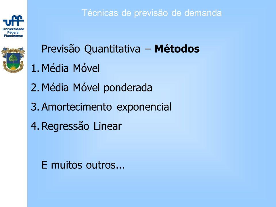 Técnicas de previsão de demanda Previsão Quantitativa – Métodos 1.Média Móvel 2.Média Móvel ponderada 3.Amortecimento exponencial 4.Regressão Linear E