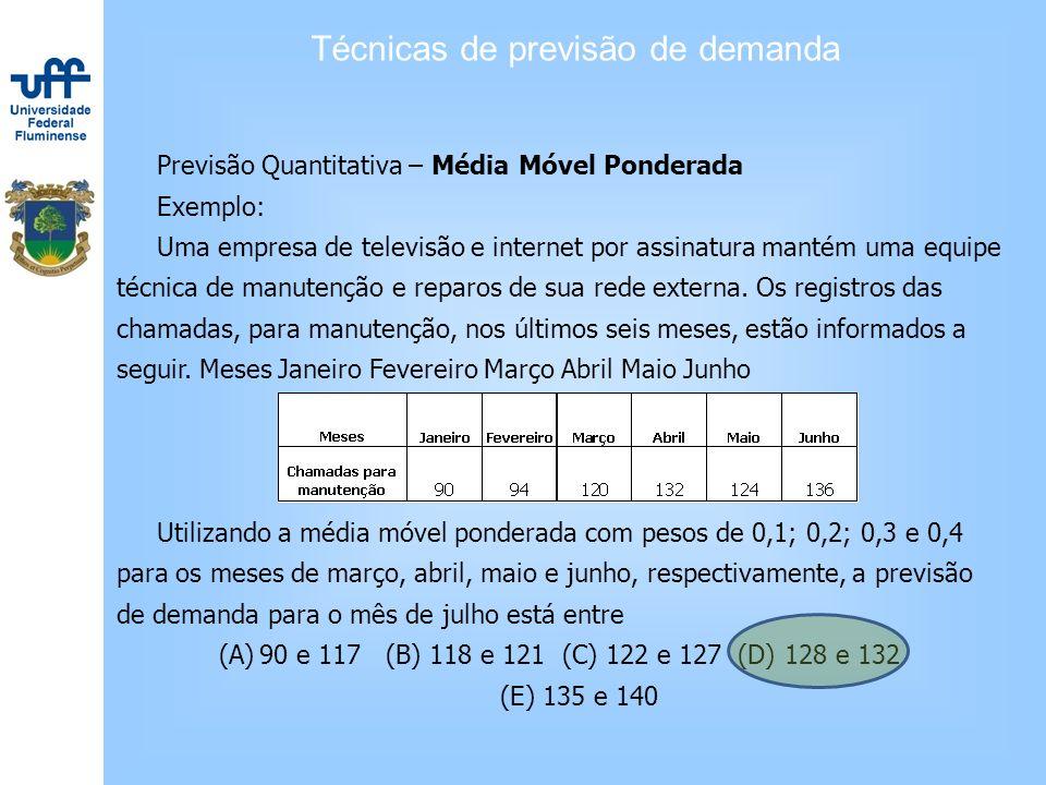 Técnicas de previsão de demanda Previsão Quantitativa – Média Móvel Ponderada Exemplo: Uma empresa de televisão e internet por assinatura mantém uma e