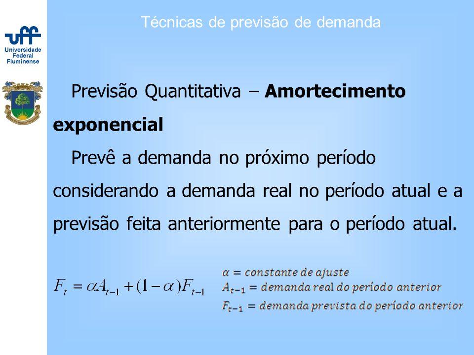 Técnicas de previsão de demanda Previsão Quantitativa – Amortecimento exponencial Prevê a demanda no próximo período considerando a demanda real no pe