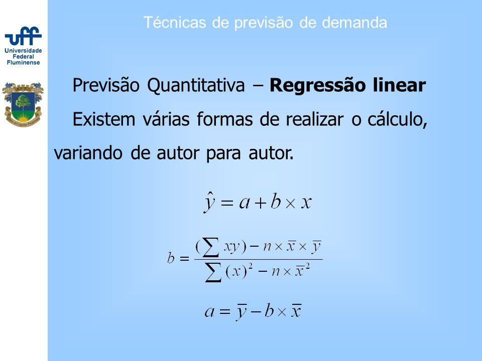 Técnicas de previsão de demanda Previsão Quantitativa – Regressão linear Existem várias formas de realizar o cálculo, variando de autor para autor.