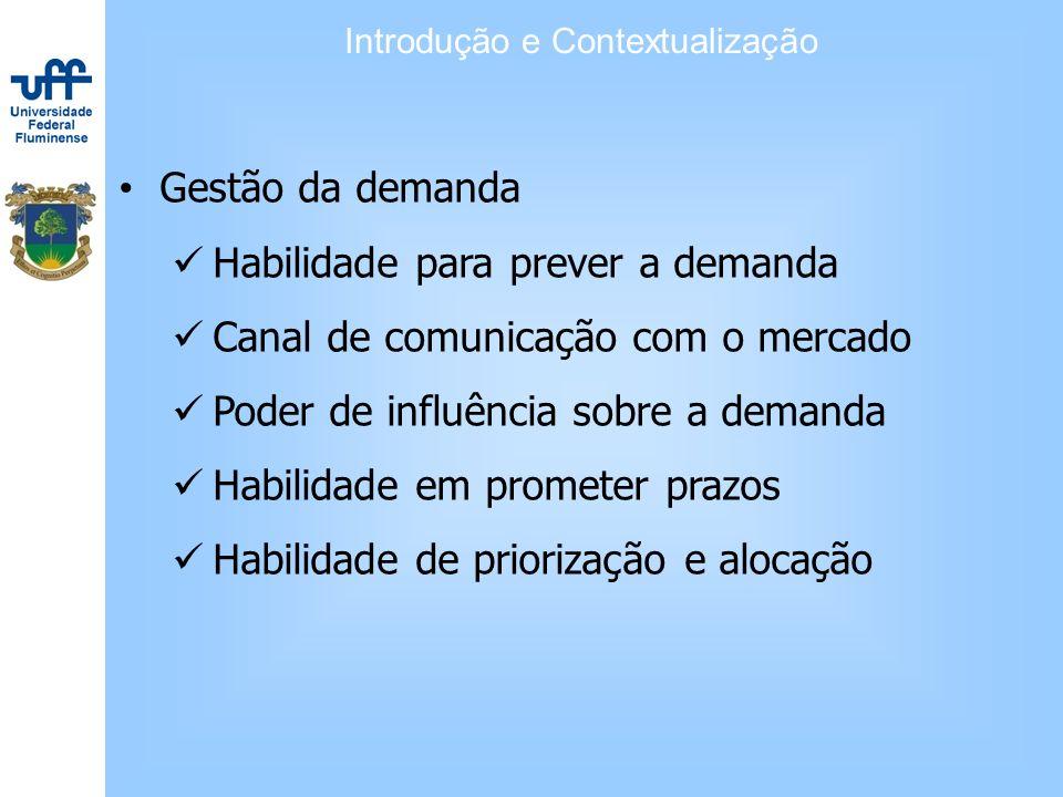 Gestão da demanda Habilidade para prever a demanda Canal de comunicação com o mercado Poder de influência sobre a demanda Habilidade em prometer prazo