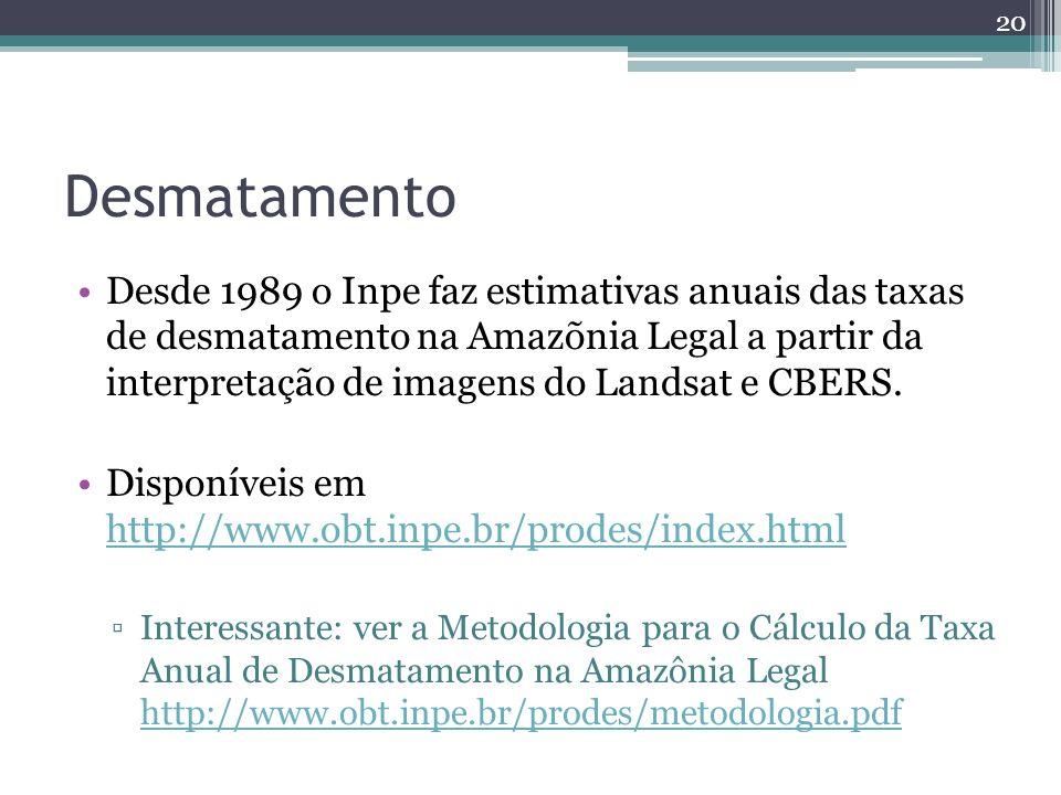 Desmatamento Desde 1989 o Inpe faz estimativas anuais das taxas de desmatamento na Amazõnia Legal a partir da interpretação de imagens do Landsat e CBERS.