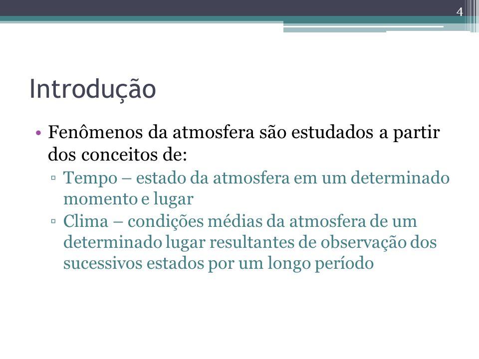 Introdução Fenômenos da atmosfera são estudados a partir dos conceitos de: Tempo – estado da atmosfera em um determinado momento e lugar Clima – condições médias da atmosfera de um determinado lugar resultantes de observação dos sucessivos estados por um longo período 4