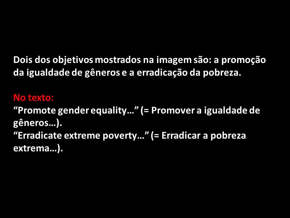 Dois dos objetivos mostrados na imagem são: a promoção da igualdade de gêneros e a erradicação da pobreza. No texto: Promote gender equality… (= Promo